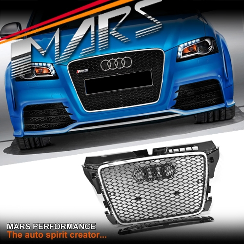 Chrome Black Honeycomb Rs3 Style Front Bumper Bar Grille