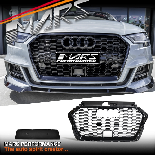 Gloss Black Honeycomb RS3 Style Front Bumper Bar Grille for AUDI A3