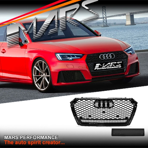 Audi Auto Body Parts: Gloss Black QUATTRO RS4 Style Front Bumper Bar Grille For