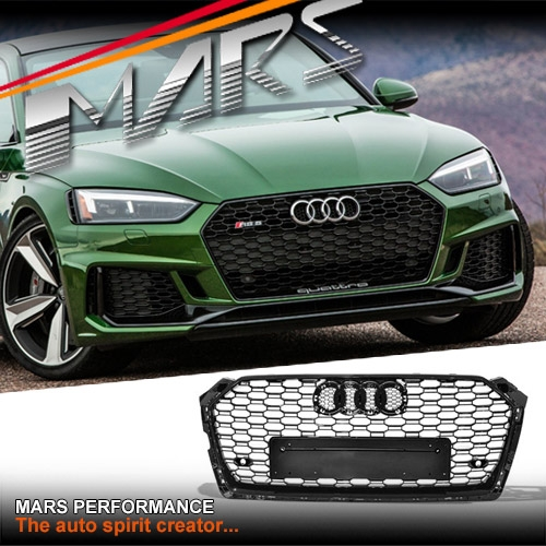 Gloss Black Honeycomb Rs5 Style Front Bumper Bar Grille For Audi A5