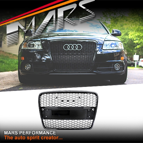 gloss black honeycomb rs style front bumper bar grille for audi a6 4f 04 11 mars performance. Black Bedroom Furniture Sets. Home Design Ideas
