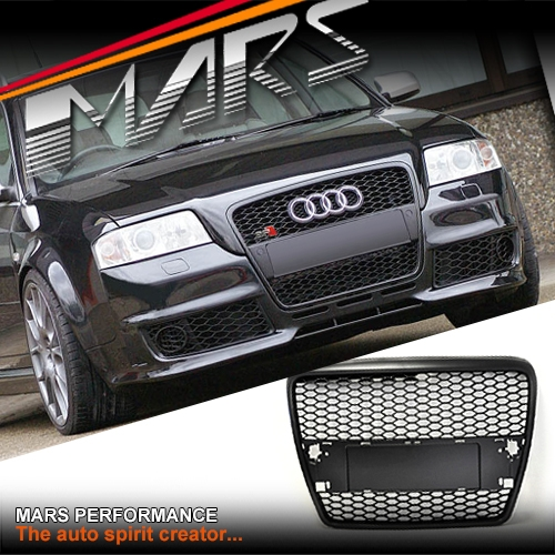 matt black rs honeycomb style front bumper grille for audi a6 4f 05 11 mars performance. Black Bedroom Furniture Sets. Home Design Ideas
