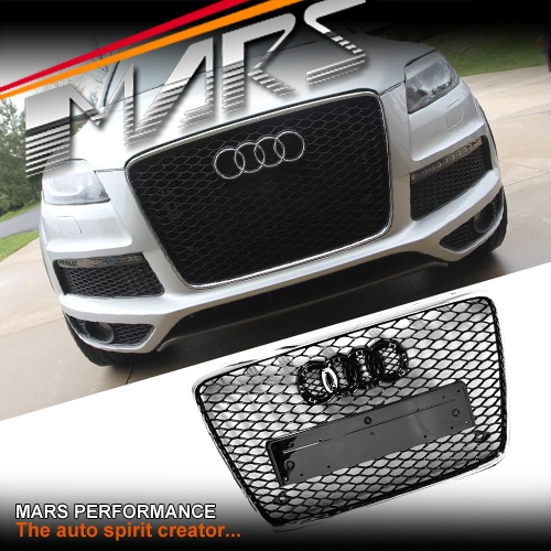 Chrome Black Honeycomb RS-Q7 Style Front Bumper Bar Grille for AUDI Q7 06-15 | Mars Performance