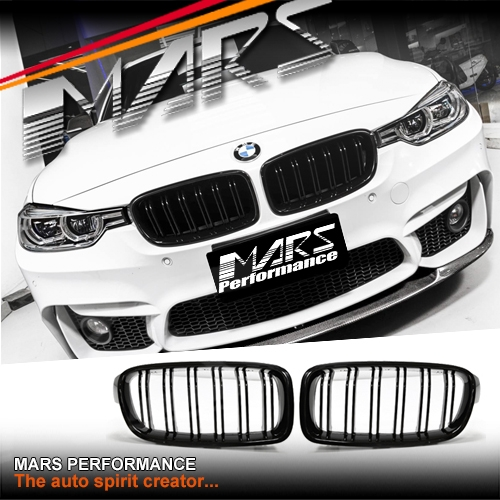 Gloss Black M3 Style Front Bumper Bar Kidney Grille For Bmw 3 Series