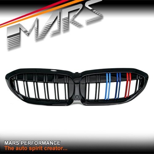 Gloss Black M3 Style Front Bumper Bar Grill Grille With 3