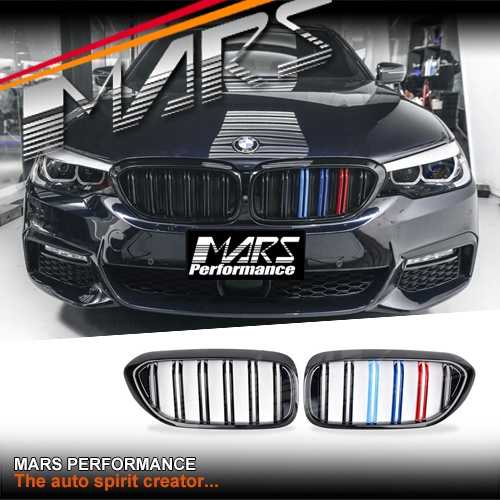 Gloss Black F90 M5 Style Front Bumper Bar Kidney Grille with