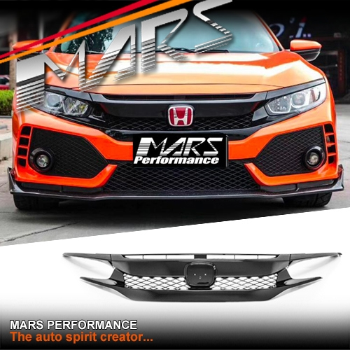 Gloss Black Type R Style Front Bumper Bar Grille For Honda Civic X