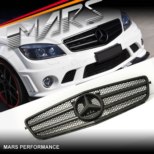 Home product matt black amg c63 style front grille for mercedes benz c