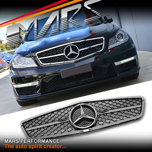 Chrome black amg c63 style front grille for mercedes benz for Mercedes benz c300 grill
