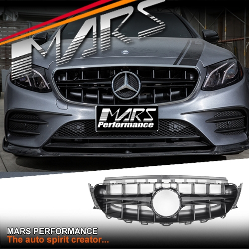 Gloss Black E63-S Style Front Bumper Bar Grille for Mercedes-Benz E