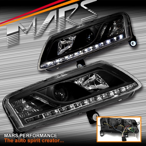 Black Day Time Drl Led Projector Head Lights For Audi A6 04 11 C6 4f Mars Performance