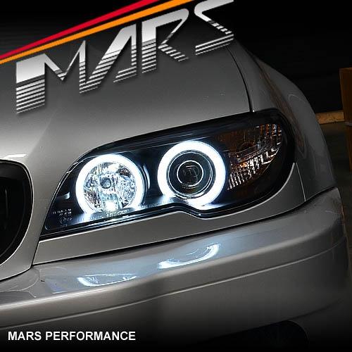 BMW 3 Series E46 03-05 2 Door Black Angel Eye Headlights White Halo Rings Pair