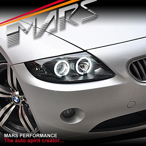 Bmw Z4 Australia: Black CCFL Angel-Eyes Projector Head Lights For BMW Z4 E85