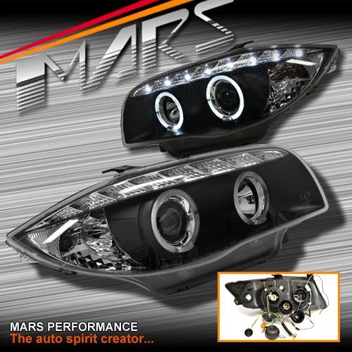 black led drl angel eyes projector head lights for bmw. Black Bedroom Furniture Sets. Home Design Ideas
