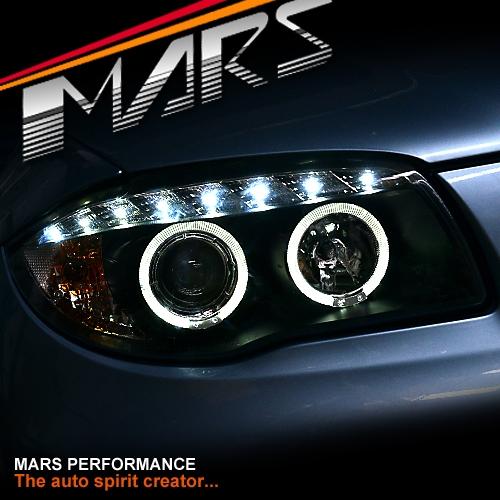 Black LED DRL & Angel-Eyes Projector Head Lights For BMW