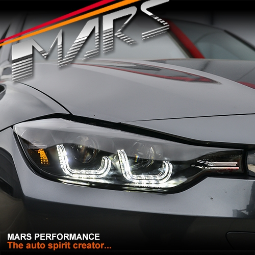 Black Drl Led Real Day Time Projector Head Lights For Bmw 3 Series