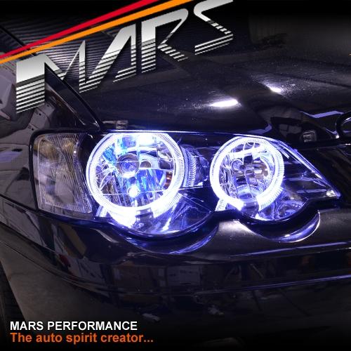 Black Angel Eyes Head Lights For Ford Falcon Fairmont Ba
