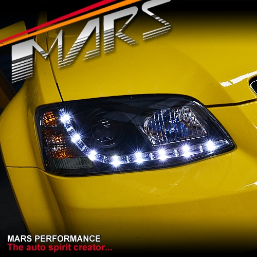 Black Drl Led Projector Head Lights For Holden Commodore