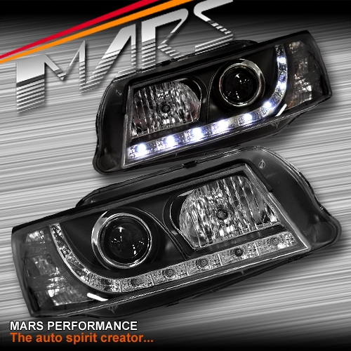 Black DRL LED Projector Head Lights for Holden Commodore VZ  Mars