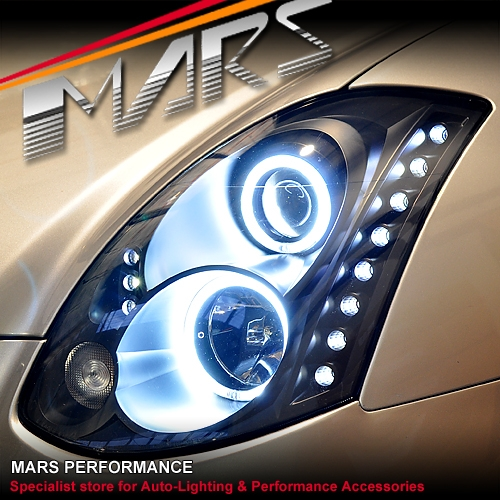 Led Replacement Headlight Bulbs >> Black LED DRL & CCFL Angel Eyes Projector Head Lights for ...