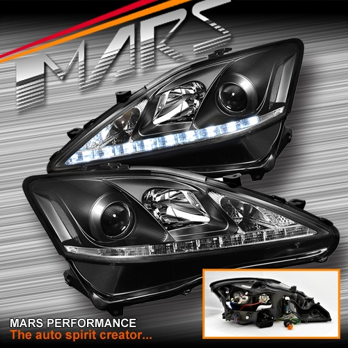 For Sale Lexus Is250: JDM Black LED DRL Day-Time Projector Head Lights For Lexus