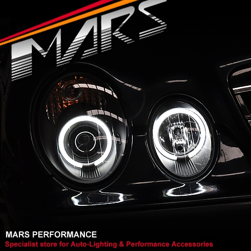 Black CCFL Angel Eyes Head Lights for Mercedes-Benz CLK W208