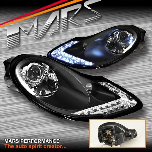Porsche 996 Headlamp Bulb: Black DRL LED Projector Head Lights For Porsche 911