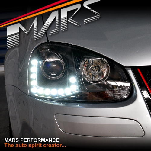 Black R20 Style DRL LED Projector Head Lights for VolksWagen VW Golf V 03-08 MK5   Mars Performance