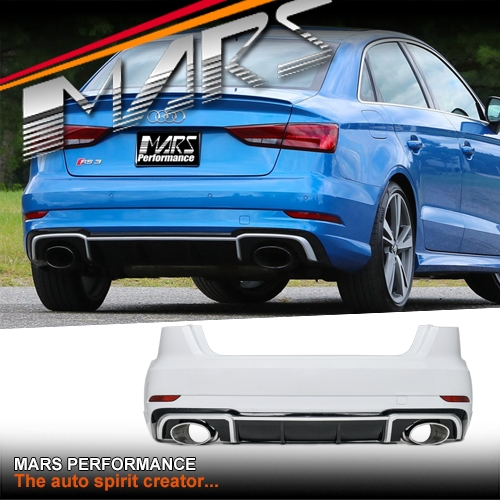 RS3 Style Rear Bumper Bar with Diffuser & Exhaust Tips for AUDI A3