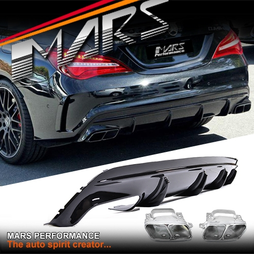 Amg Cla45 Update Style Rear Bumper Bar Diffuser With Exhaust Tips For Mercedesbenz Cla Class C117 W117: Cla Amg Exhaust At Woreks.co