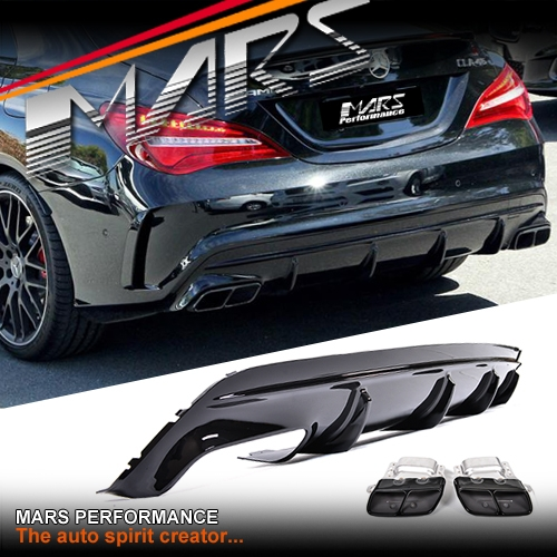 amg cla45 update style rear bumper bar diffuser with. Black Bedroom Furniture Sets. Home Design Ideas