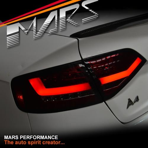 Smoked Red 3d Led Stripe Tail Lights For Audi A4 B8 4d Sedan