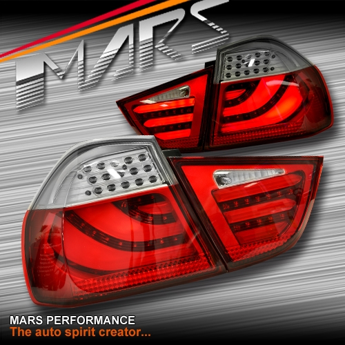 BMW Body Parts >> Clear Red 3D Stripe Bar LED Tail Lights for BMW 3-Series E90 LCI Sedan 09-11 | Mars Performance