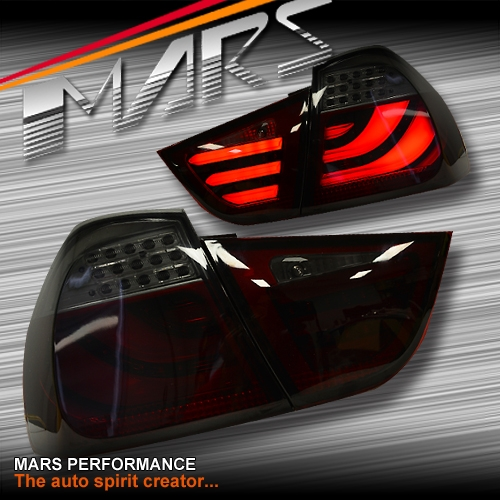 smoked red 3d stripe bar led tail lights for bmw 3 series. Black Bedroom Furniture Sets. Home Design Ideas