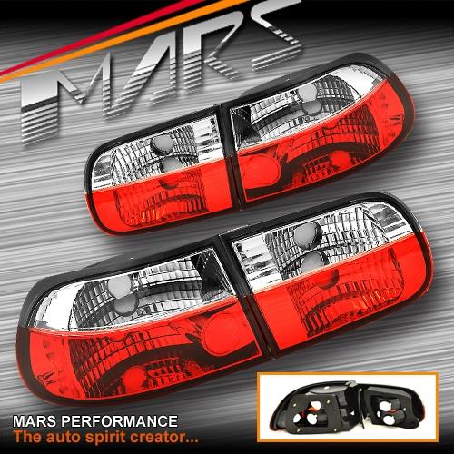 Jdm Clear Red Tail Lights For Honda Eg 92 95 3 Doors Hatch