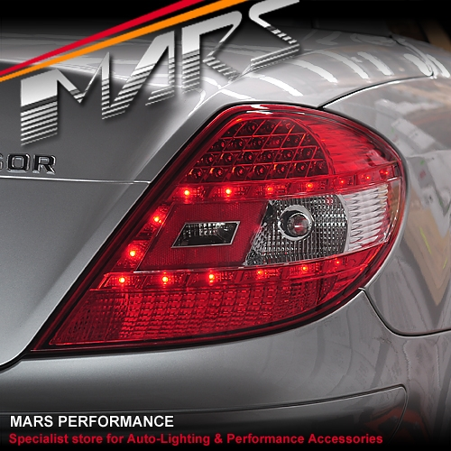 Clear red led tail lights for mercedes benz slk r171 for Mercedes benz brake light bulb