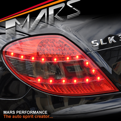 Smoked red led tail lights for mercedes benz slk r171 for Mercedes benz brake light bulb