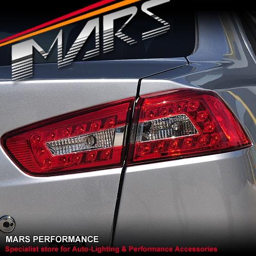 Clear Red Led Tail Lights For Mitsubishi Lancer Cj Amp Evo X