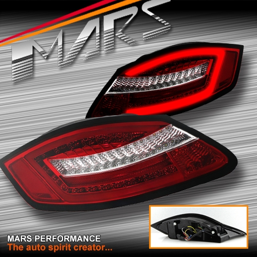 Clear Red 3D Stripe LED Bar Tail Lights For Porsche